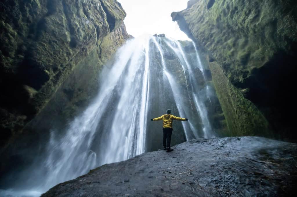 Hidden waterfall of Gljúfrabúi